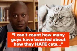 Titus Burgess looking annoyed, and a cat