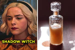 """On the left, Kiernan Shipka as Sabrina Spellman in """"Chilling Adventures of Sabrina"""" labeled """"Shadow Witch,"""" and on the right, a potion in a vial in the sunlight"""