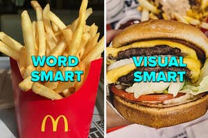 McDonald's Fries and a double cheeseburger from In N Out