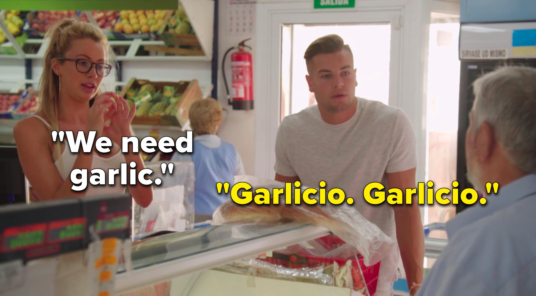 "Olivia says, ""We need garlic,"" and Chris says, ""Garlicio, garlicio"""