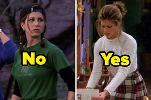 """rachel in a sporty outfit with the text """"no"""" and rachel in a sweater and skirt with the text """"yes"""""""