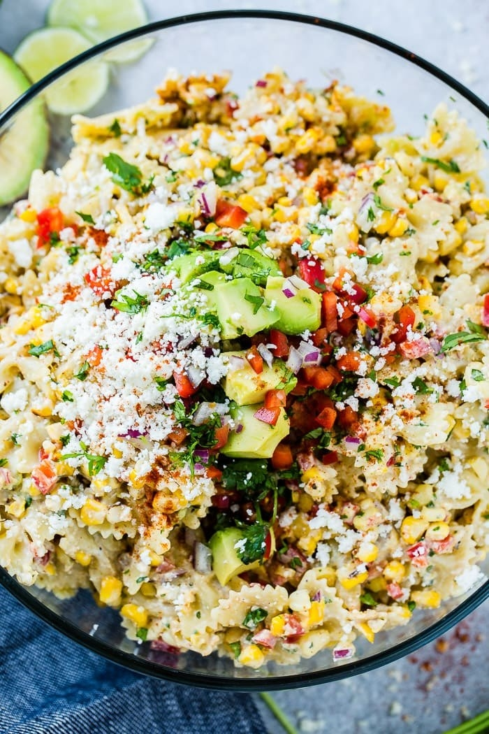 Mexican street corn salad with cotija cheese and avocado.