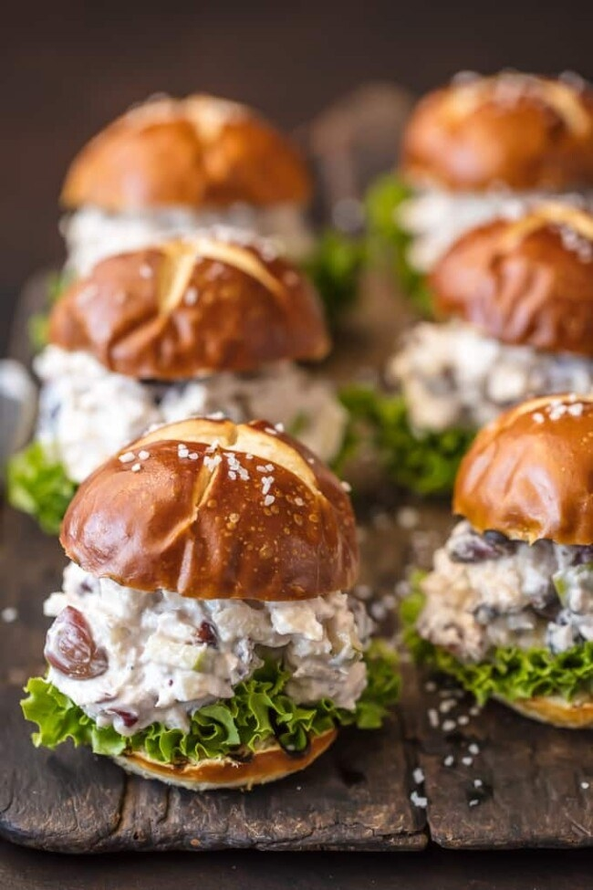 Sliders filled with lettuce and chicken salad.