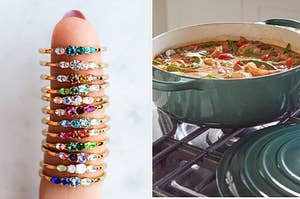stack of rings with colorful stones; pot of delicious looking stew on a stove