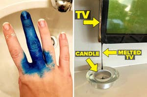 A finger coated in hair dye and a candle that melted a television