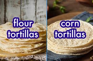 玉米和面粉玉米饼的并排