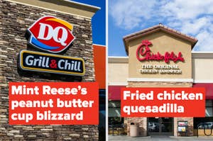 text reading mint reese's peanut butter cup blizzard and fried chicken quesadilla