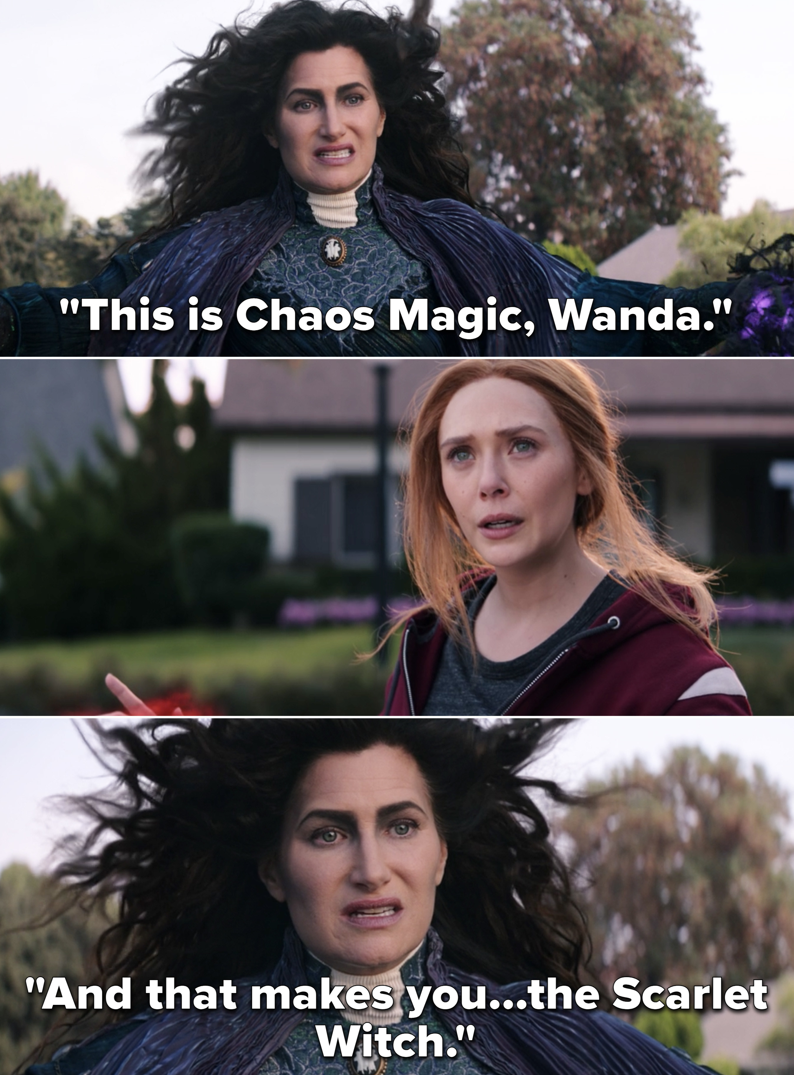 "Agatha saying, ""This is Chaos Magic, Wanda. And that makes you...the Scarlet Witch"""