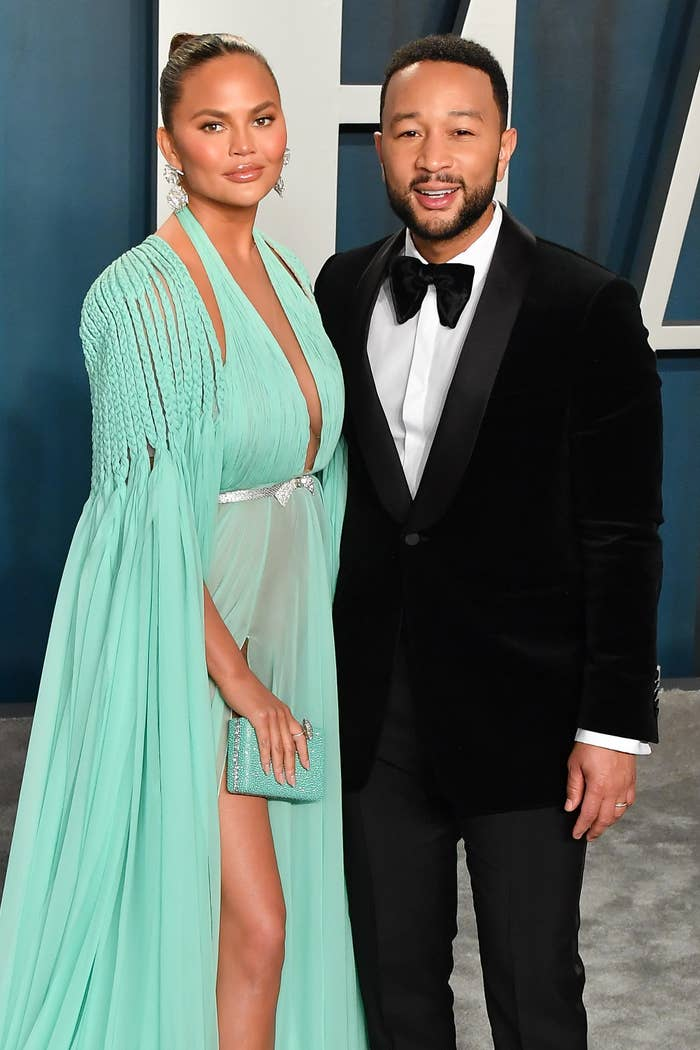 Chrissy Teigen and John Legend at the Vanity Fair Oscar Party in 2020