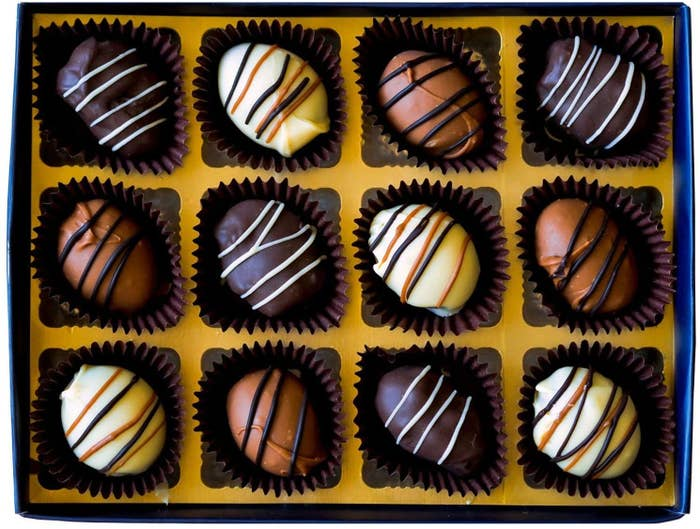 A box of date and almond chocolates