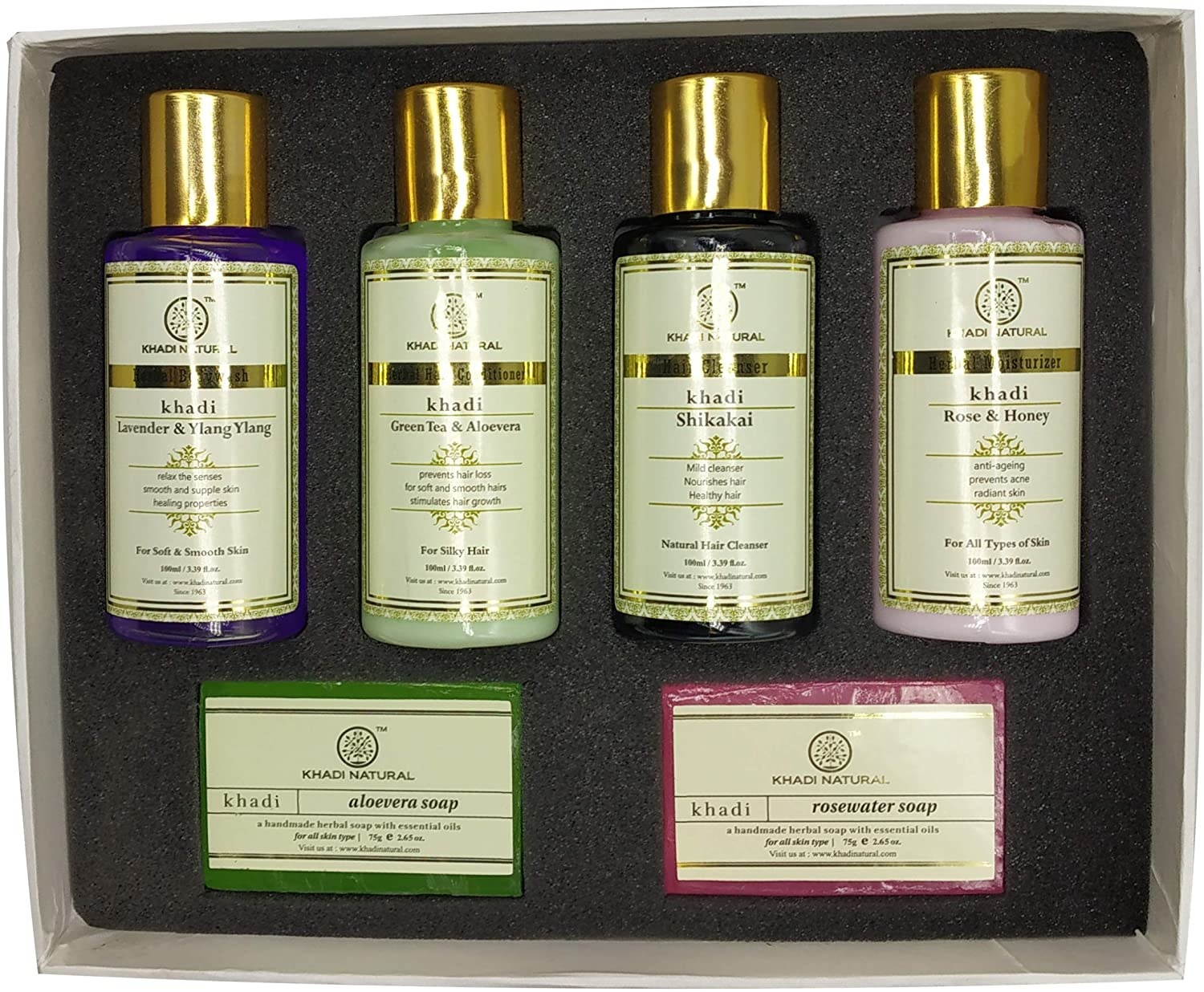 A Khadi Naturals gift set with bath items in it