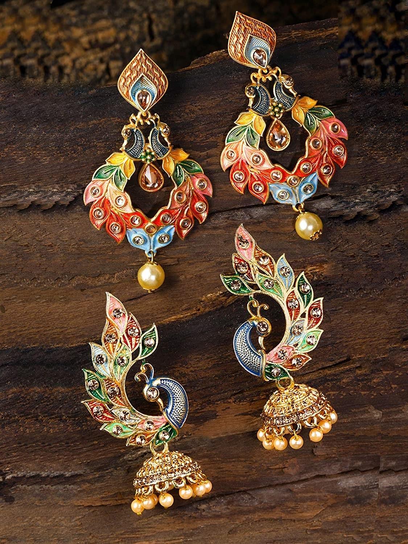 A pair of peacock earrings