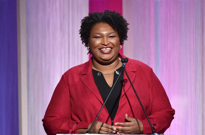 Stacey Abrams speaks onstage during The Hollywood Reporter's Power 100 Women in Entertainment