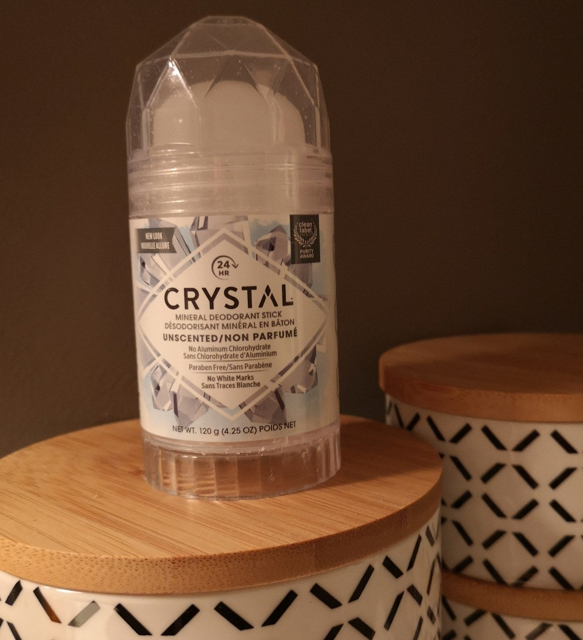 A crystal mineral deodorant stick in unscented