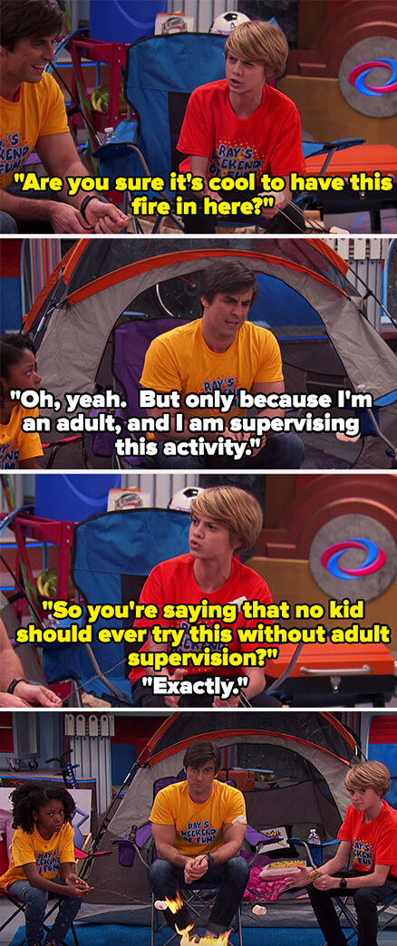 Henry asks if it's ok that they have a fire indoors and Henry says yes but only because he's an adult and he's there, and Henry clarifies that no kid should do this without adult supervision, then they all look at the camera