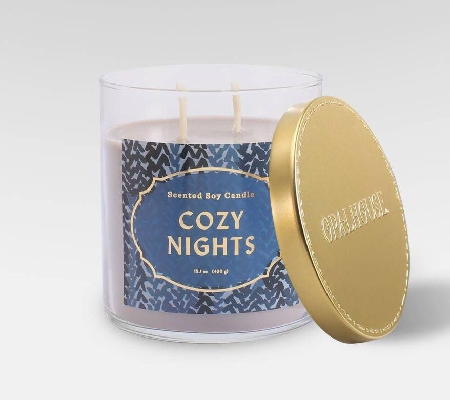 cozy nights jar candle with double wick and gold lid