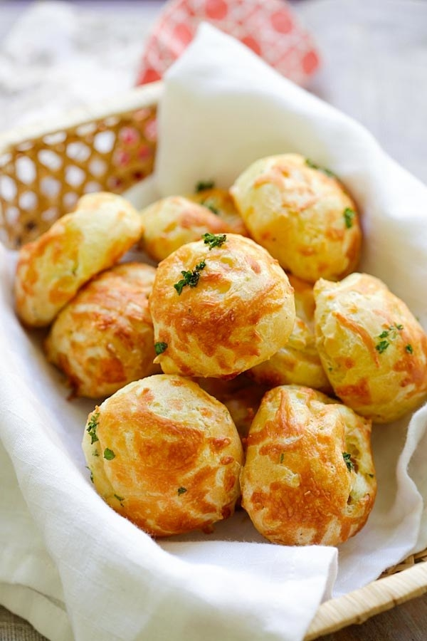 Cheese puffs in a basket.