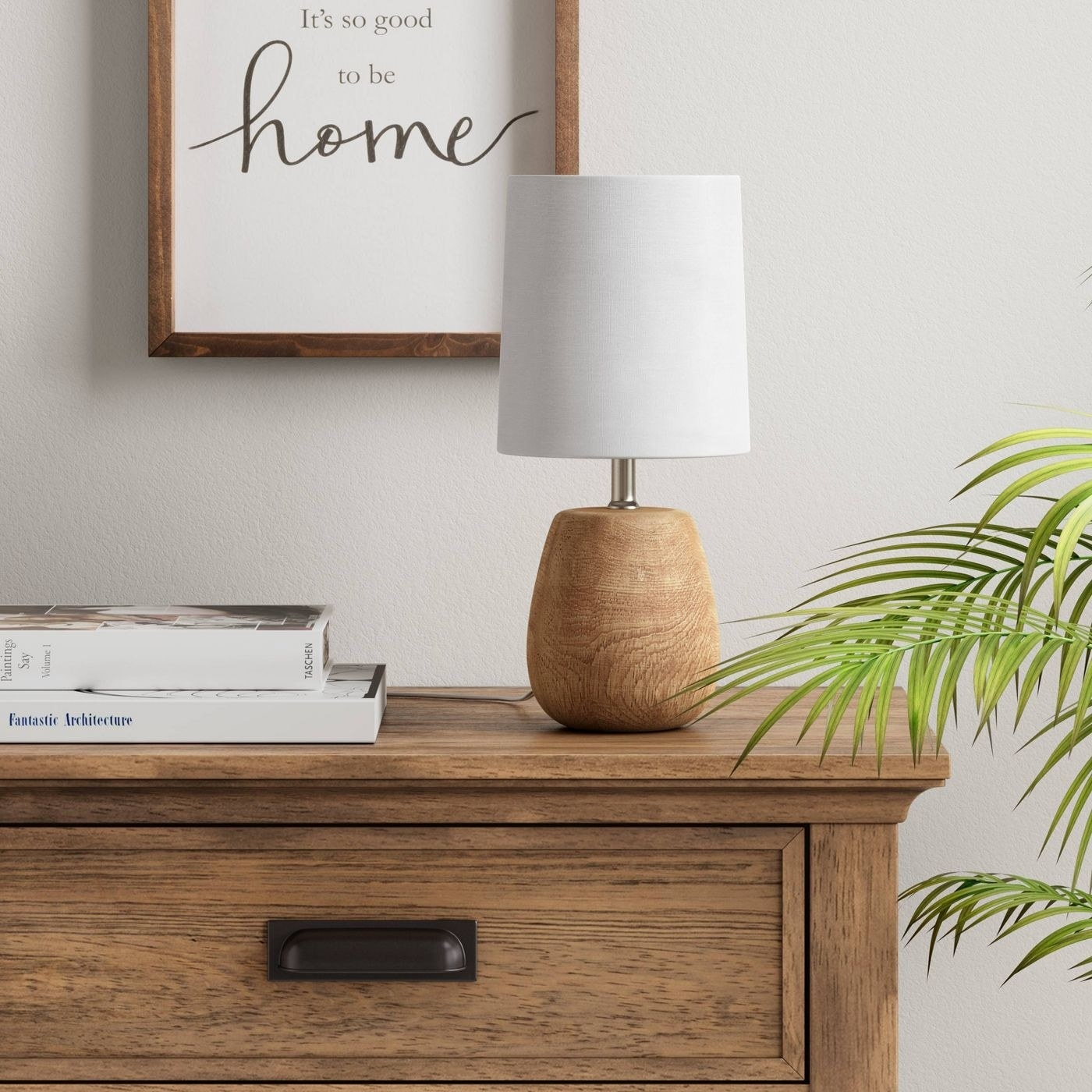 small accent lamp with white lampshade and wood colored base