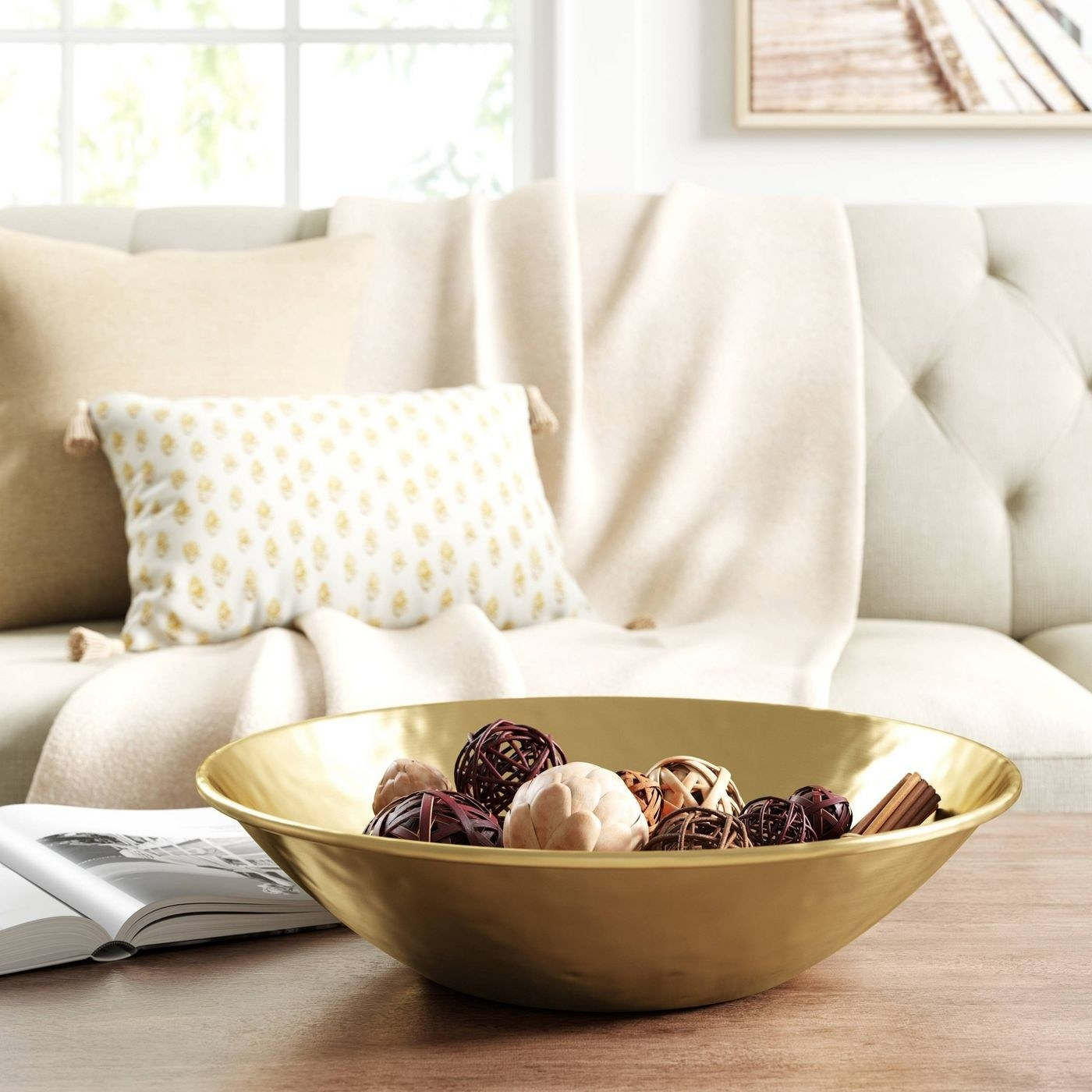 gold decorative bowl on a table