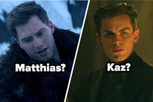 "Freddy Carter as Kaz Brekker and Calahan Skogman as Matthias Helvar in the show ""Shadow and Bone."""