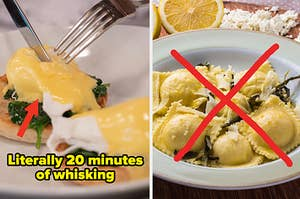 """Hollandaise sauce on Eggs Benedict with the caption """"literally 20 minutes of whisking"""" next to a crossed-out plate of ravioli"""