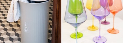 (left) Towel warmer (right) Multi-colored wine glasses