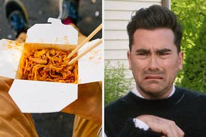 "On the left, some pad Thai in a takeout box with chopsticks in it, and on the right, David Rose from ""Schitt's Creek"" contorting his face in disgust"