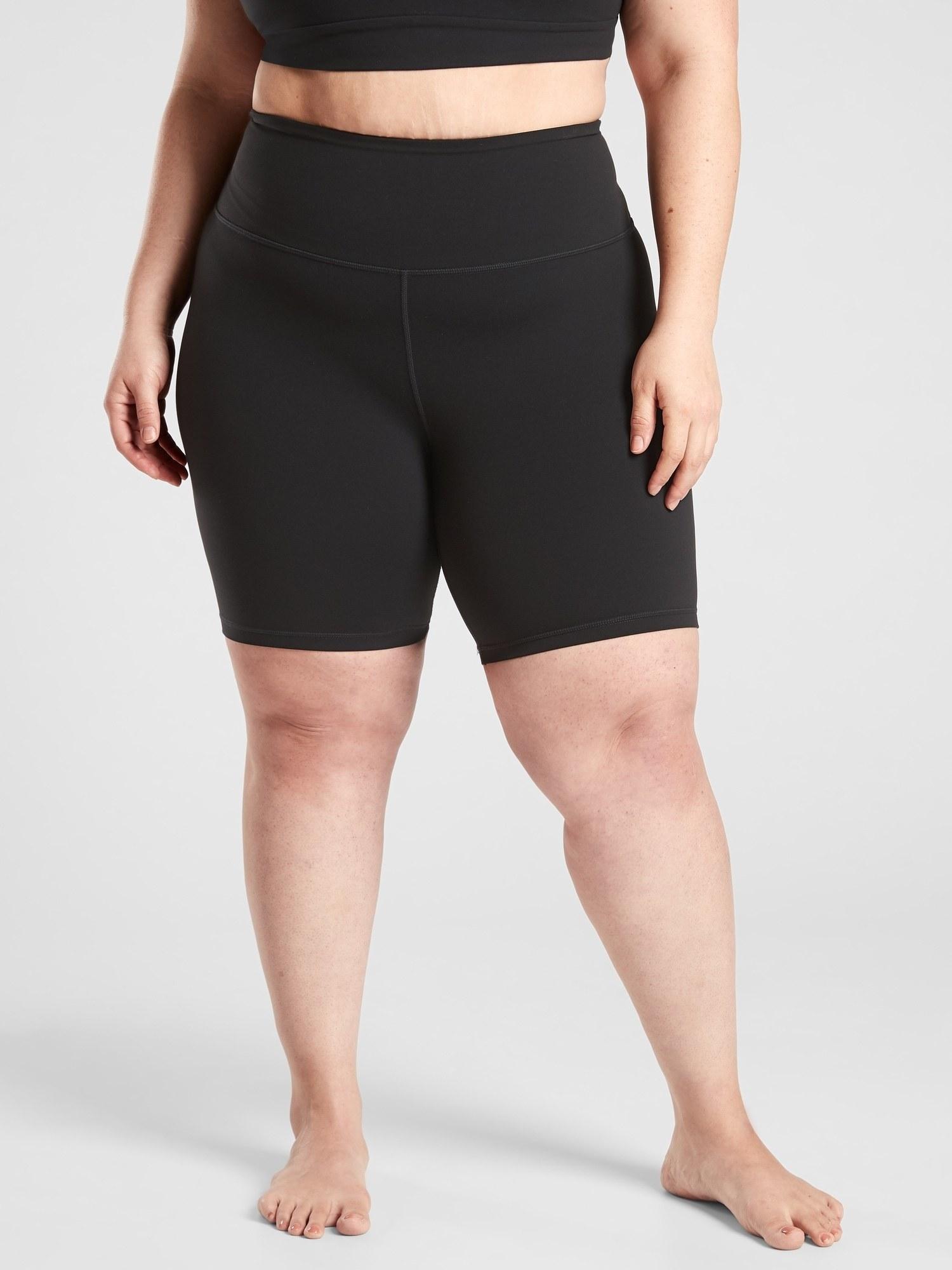 model wearing bike shorts in black