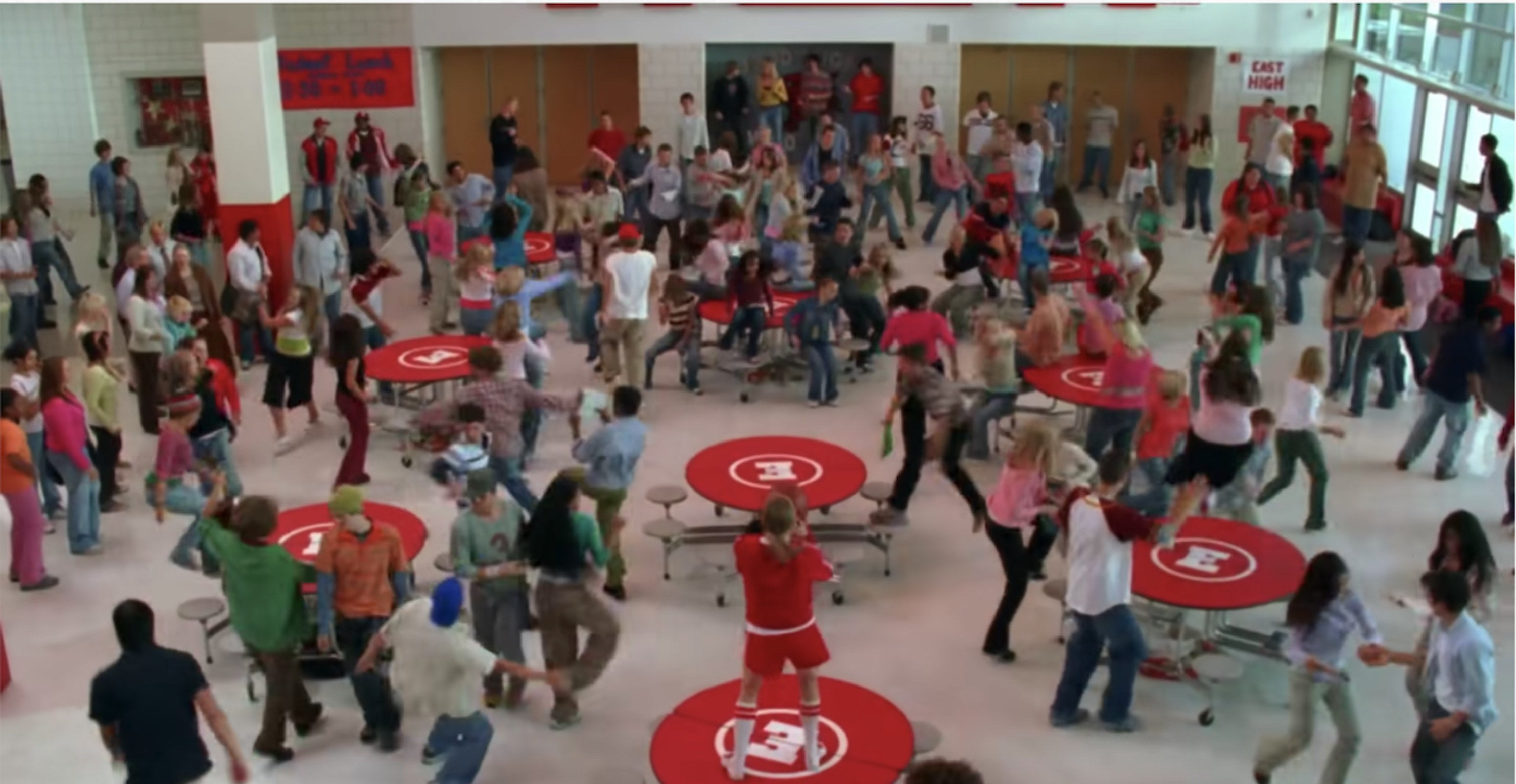 a dance number in the cafeteria