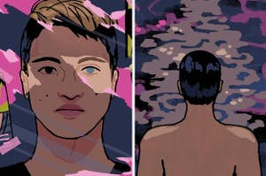 Illustrated images of the author with one brown eye and one blue eye and an image of him peering out into the water