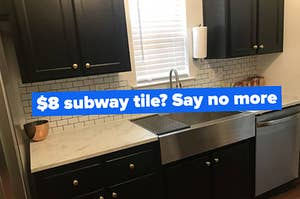 a reviewer's white peel-and-stick subway tile in their kitchen