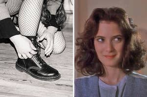 """On the left, someone bending down to tie their combat boots while wearing dark clothing and fishnet tights, and on the right, Winona Ryder as Veronica in """"Heathers"""""""