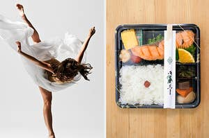 a girl dancing in a white dress on the left and a sushi box on the right
