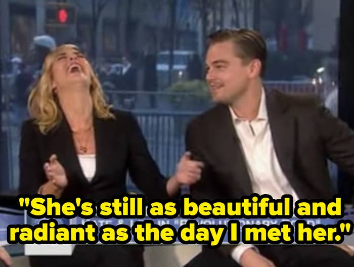 """Leo saying, """"She's still as beautiful and radiant as the day I met her"""""""