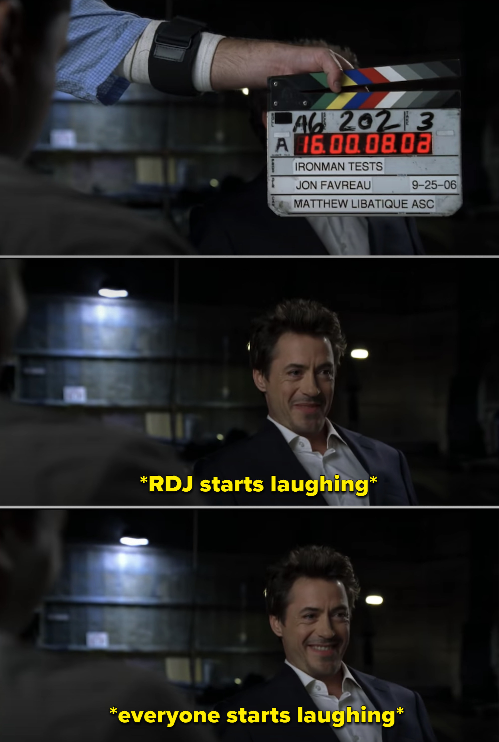 RDJ laughing during his screen test