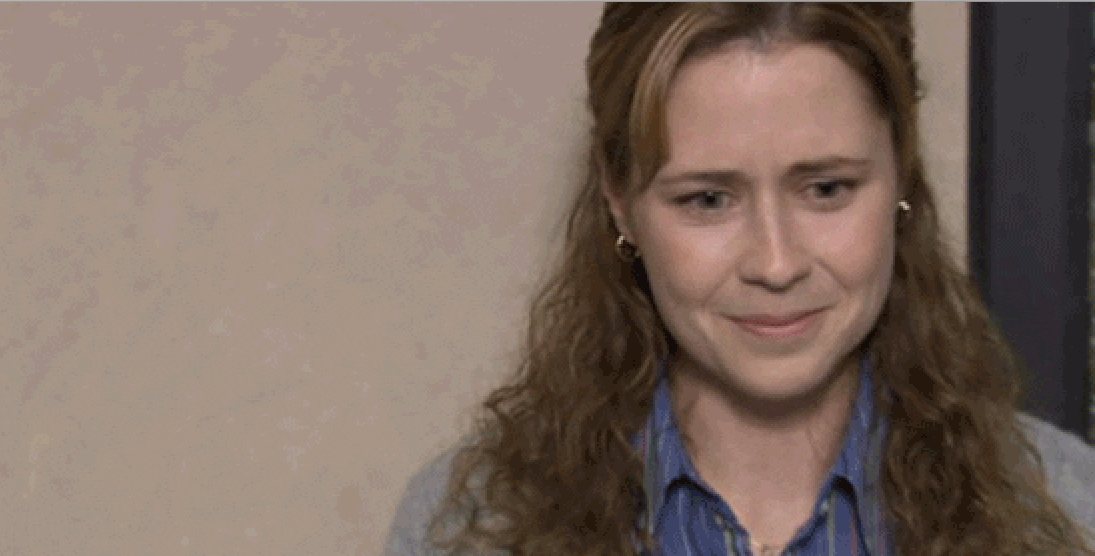 Pam Beesly from The Office about to break down crying