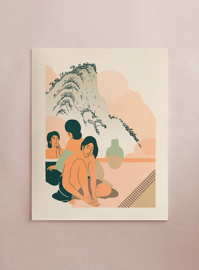 the screen print showing a scene of two women getting ready