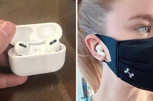 airpods in their case and in someone's ear