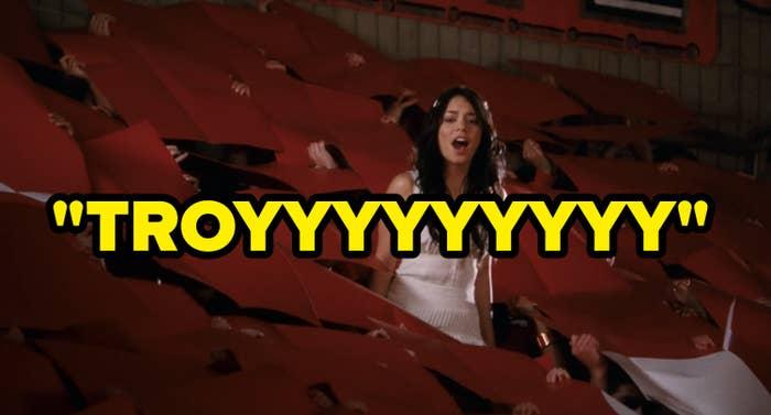 "Gabriella standing in the bleachers shouting ""Troyyyy"""