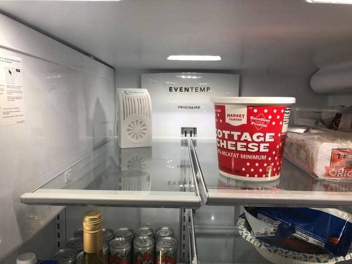 The deodorizer on a kitchen fridge shelf
