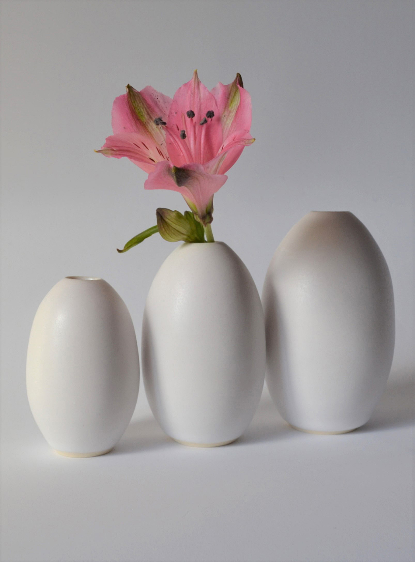 the three vases in a line with the middle one with a flower in it