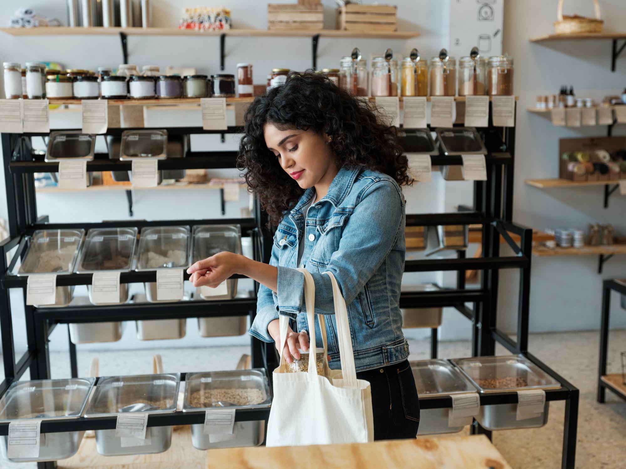 Person shopping with a reusable bag
