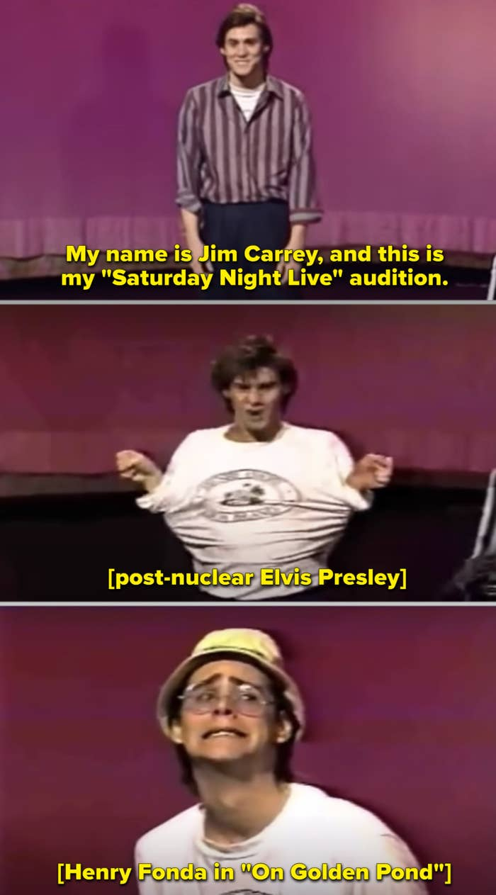 """Jim Carrey auditioning on the """"SNL"""" stage"""