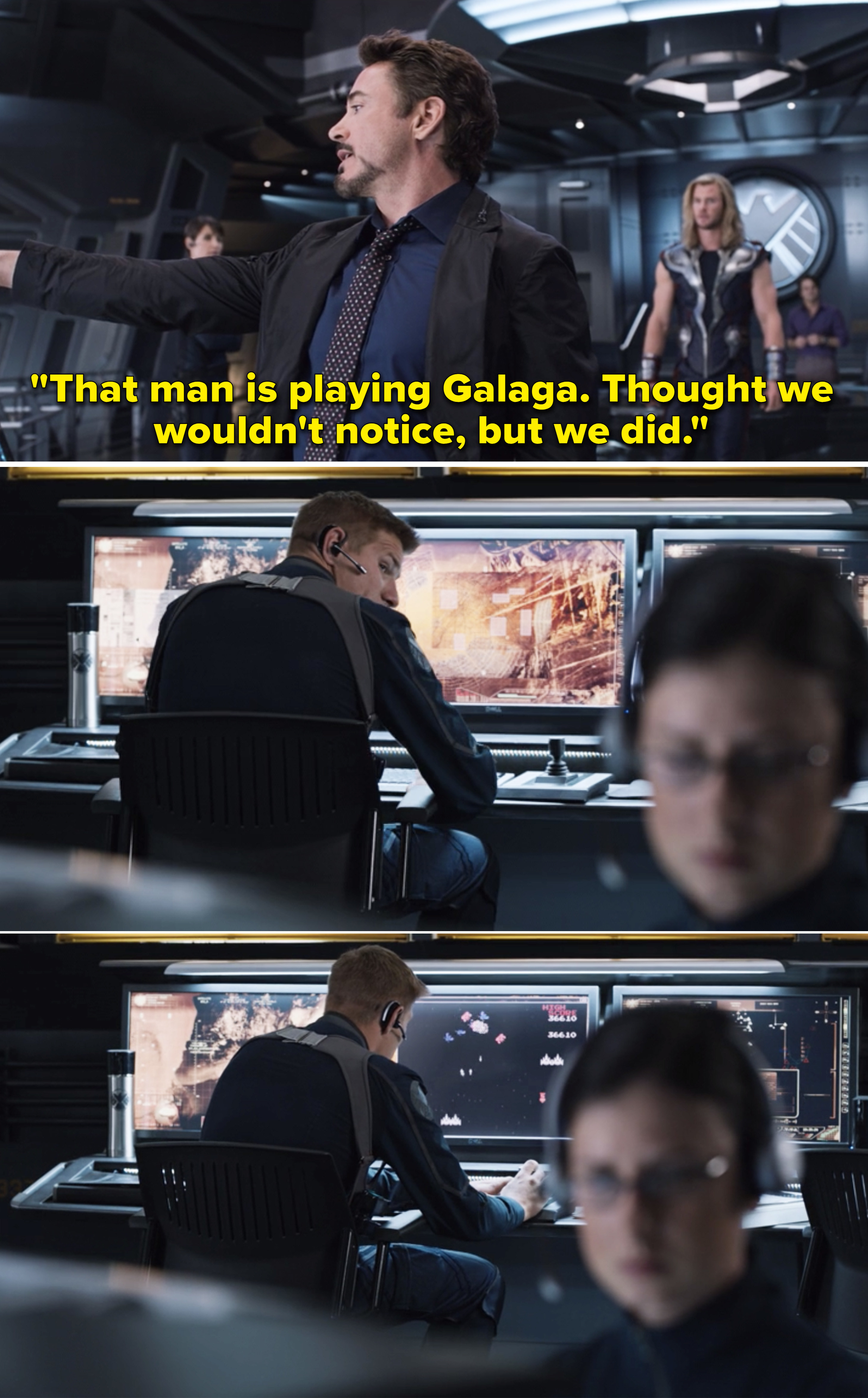 """Tony saying, """"""""That man is playing Galaga. Thought we wouldn't notice, but we did"""""""