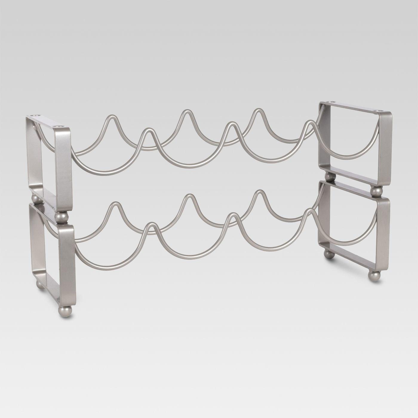 A silver wine rack