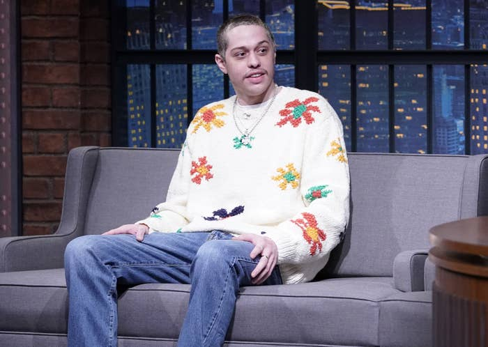 Pete wears a floral embroidered sweater to the interview