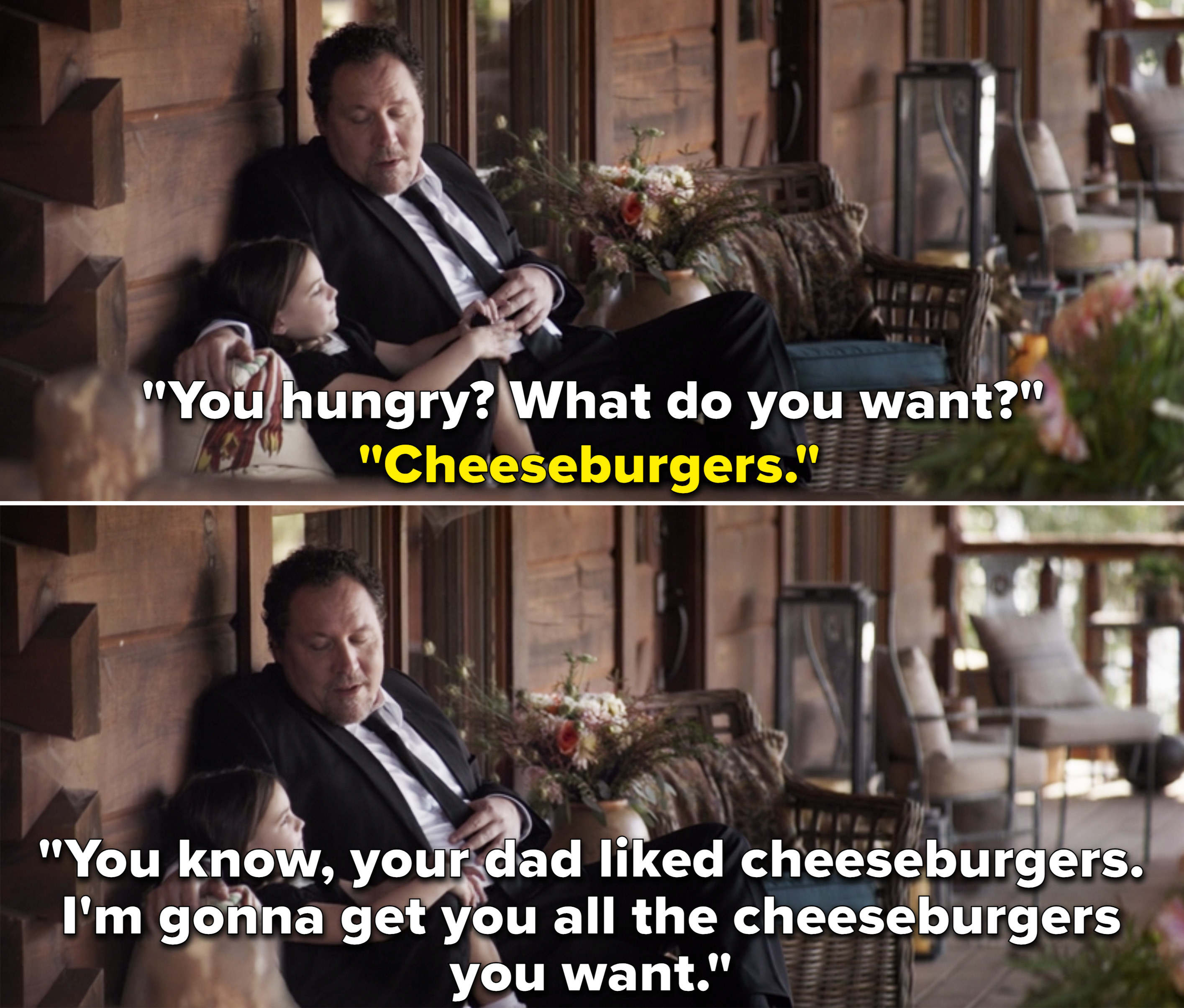 """Happy telling Morgan, """"You know, your dad liked cheeseburgers. I'm gonna get you all the cheeseburgers you want"""""""