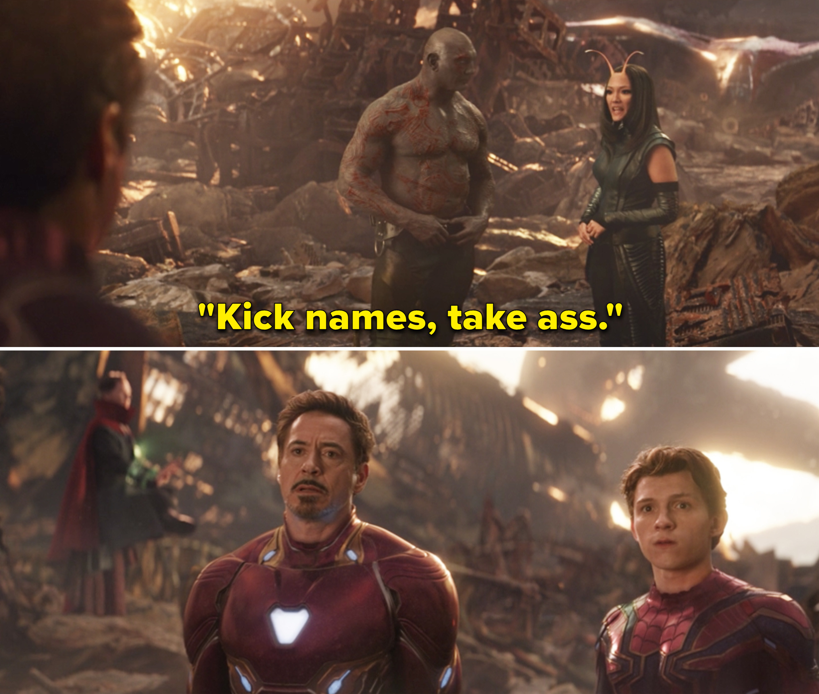 """Mantis saying, """"Kick names, take ass"""" and Tony and Peter looking confused"""