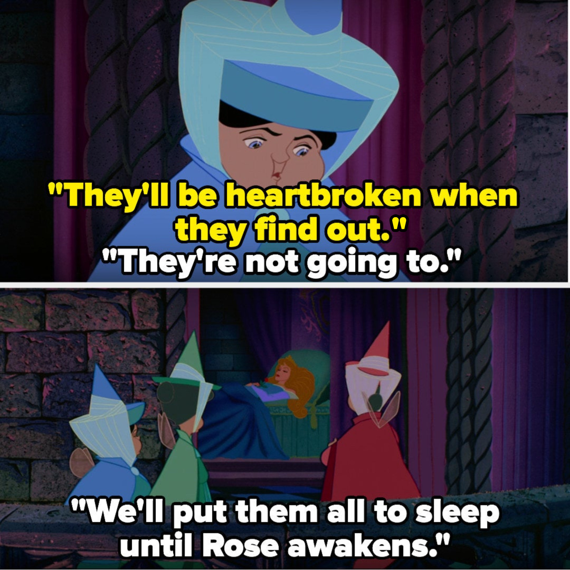 The fairies decide to put everyone to sleep until Aurora awakens