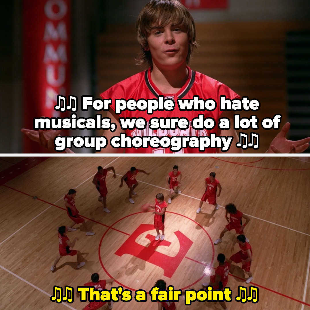 """the basketball team does group choreo during """"get your head in the game"""""""